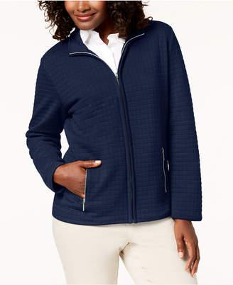 Karen Scott Petite Quilted Fleece Zip-Up Jacket