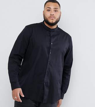 Asos DESIGN Plus Stretch Regular Fit Shirt In Black With Grandad Collar