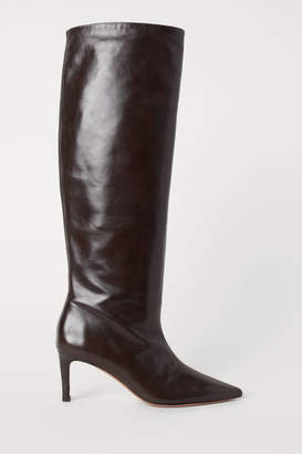 H&M Knee-high Leather Boots - Brown