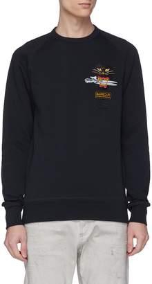Denham Jeans x Barbour International Cat scissor logo embroidered sweatshirt