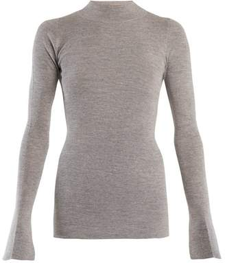 Stella McCartney High Neck Cotton And Alpaca Blend Sweater - Womens - Grey