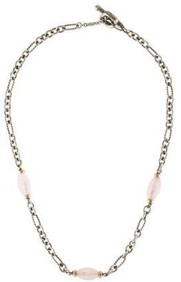 David Yurman Rose Quartz Figaro Chain Necklace