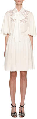 Giambattista Valli 1\/2-Flutter Sleeve Tie-Neck Dress