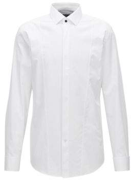 HUGO BOSS Dobby Bib Tuxedo Shirt, Slim Fit Jarome 15.5 White