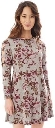 Iz Byer Juniors' Cutout Sleeve Floral Sweaterdress
