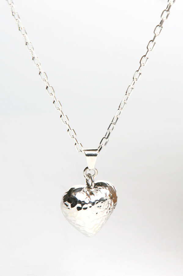 Michele Michel Jewelry Hammered Heart Pendant in Silver