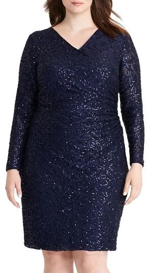 Lauren Ralph LaurenPlus Size Women's Lauren Ralph Lauren Sequin Lace Surplice Sheath Dress