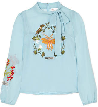 RED Valentino Bow-embellished Embroidered Chiffon Blouse - Light blue