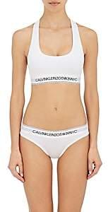 Calvin Klein Women's Logo Cotton-Blend Sports Bra - White