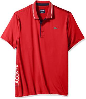 Lacoste Men's Short Sleeve Jersey with Jacquard Collar & Contrast Piping Polo, DH3360