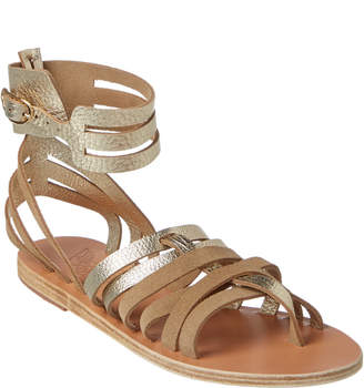 Ancient Greek Sandals Zaira Metallic Leather Ankle Strap Sandal