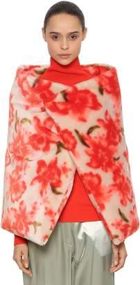 Jil Sander Floral Printed Mohair Blend Wrap Cape