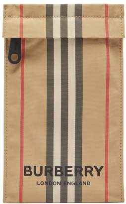 Burberry Heritage Stripe Canvas Phone Pouch - Womens - Beige Multi