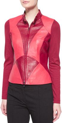 Escada Art Nouveau Leather Combo Jacket, Dark Tivoli $1,240 thestylecure.com