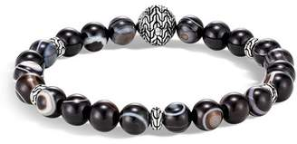 John Hardy Sterling Silver Classic Chain Banded Agate Bead Bracelet
