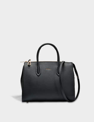 Furla Pin M Satchel Bag in Onyx Calfskin