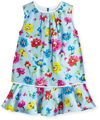 Oscar de la Renta Sleeveless Scattered Flower Mikado Flounce Dress, Multicolor, Size 4-14 $295 thestylecure.com