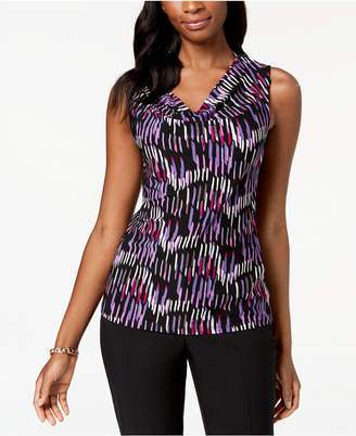 Nine West Printed Cowl-Neck Knit Shell