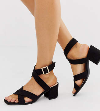 London Rebel wide fit block heel sandals in black