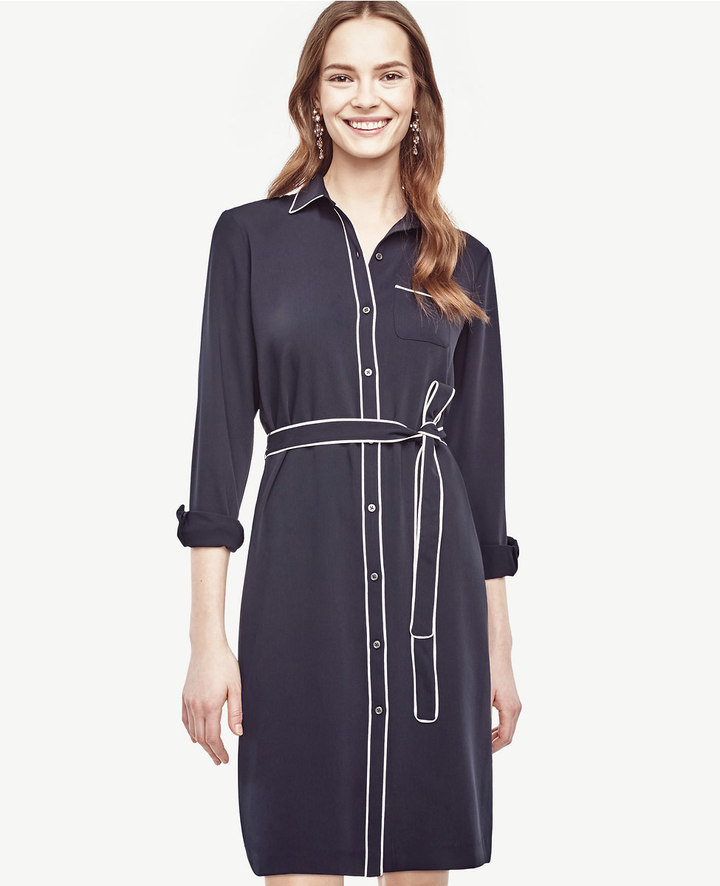 Ann Taylor Piped Shirtdress