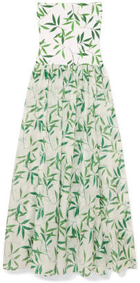 Caroline Constas Marianna Printed Stretch-jersey And Voile Maxi Dress - Green