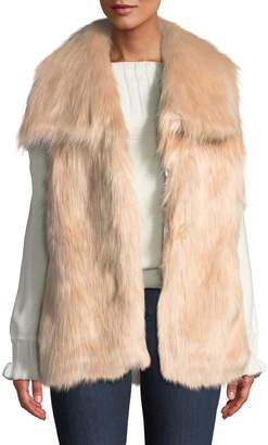 Via Spiga Draped Faux-Fur Vest