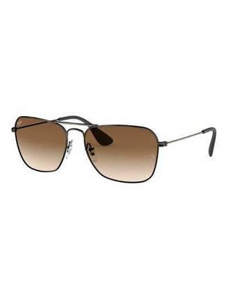 cd1077ab440b2 Ray-Ban Men s Rectangular Metal Sunglasses with Gradient Lenses