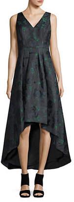 Aidan Mattox AIDAN Floral Jacquard High-Low Midi Dress