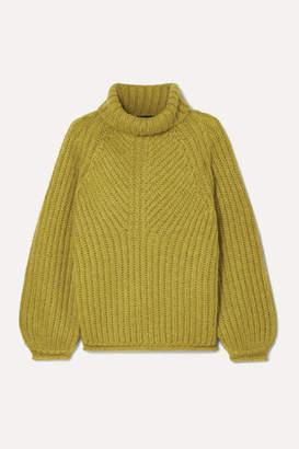 Stine Goya Nicholas Ribbed Mohair-blend Turtleneck Sweater - Lime green