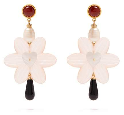 Sal Heart gold-plated pearl earrings