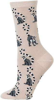 Hot Sox Women's Lemur-Print Crew Socks