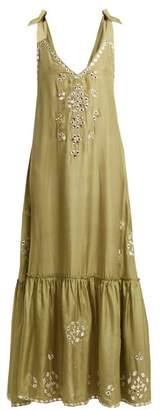 Juliet Dunn Sequin Embellished Embroidered Silk Maxi Dress - Womens - Green