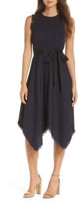 1901 Tie Waist Tweed Midi Dress