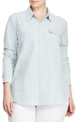 Lauren Ralph Lauren Plus Plus Size Chambray Shirt