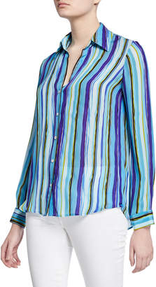 L'Agence Nina Striped Long-Sleeve Blouse