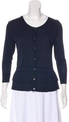 Oscar de la Renta Pleated Rib-Knit Trim Cardigan