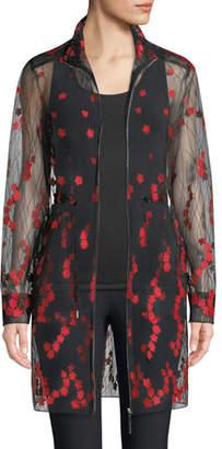 Elie Tahari Nicolette Embroidered Sheer Zip-Front Coat