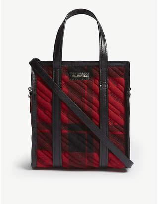 Balenciaga Red Avant Garde Bazar Plaid Wool Tote Bag
