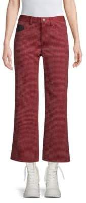 Marc Jacobs Women's Cropped Houndstooth Pants - Red Black - Size 0