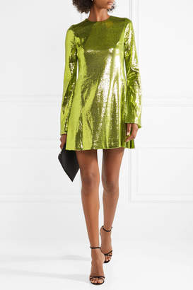 Galvan - Galaxy Sequined Stretch-crepe Mini Dress - Chartreuse