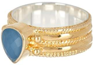 Anna Beck 18K Gold Plated Blue Quartz Double Band Ring