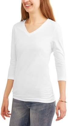 Generic Women's Essential 3/4 Sleeve Vneck Flattering Ruched T-Shirt