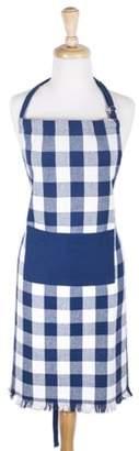 "Buffalo David Bitton Design Imports Navy Heavyweight Check Fringed Chef Kitchen Apron, 32""x28"", 100% Cotton, Blue"