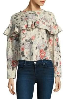 Rebecca Taylor Ruffle Floral Sweatshirt