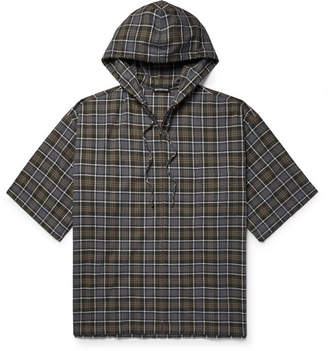 Balenciaga Oversized Checked Cotton-Flannel Zip-Up Hoodie