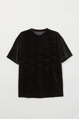 H&M Velour T-shirt - Black