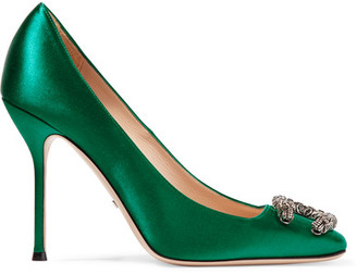 Gucci - Dionysus Embellished Satin Pumps - Emerald $870 thestylecure.com