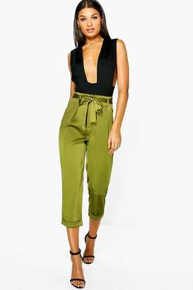 boohoo High Waist Belted Cropped Trousers