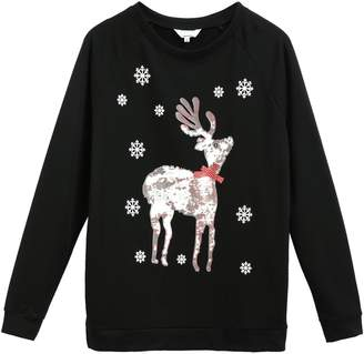 Meaneor Women's Christmas Santa Claus Print Sweatshirt Round Neck Shirt Top /S