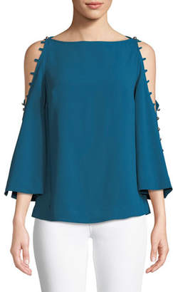 Trina Turk Amor Top w/ Button Shoulders